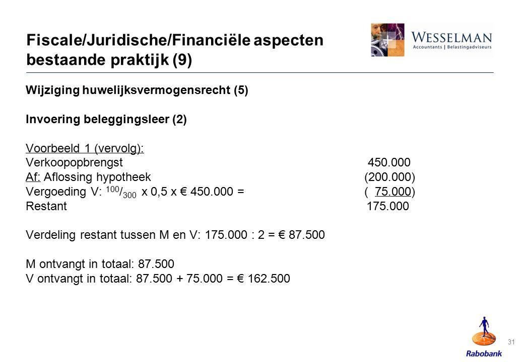 31 Fiscale/Juridische/Financiële aspecten bestaande praktijk (9) Wijziging huwelijksvermogensrecht (5) Invoering beleggingsleer (2) Voorbeeld 1 (vervo