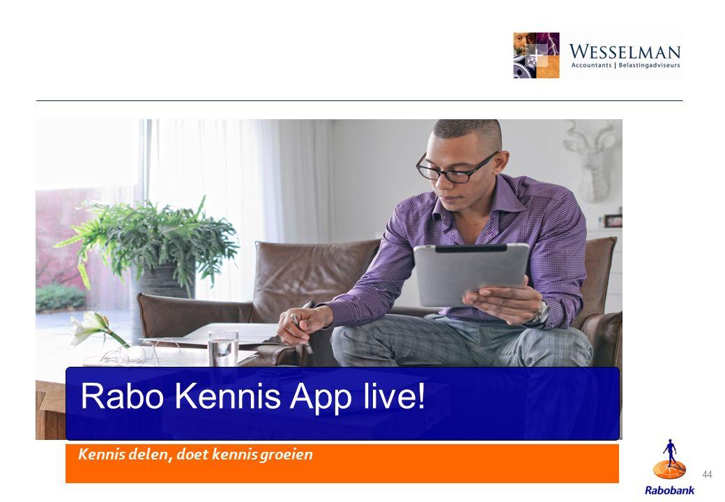 44 Rabo Kennis App live! Kennis delen, doet kennis groeien