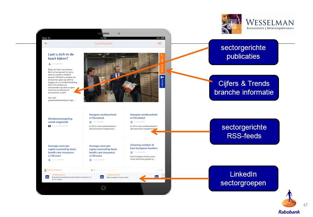 47 sectorgerichte publicaties sectorgerichte RSS-feeds Cijfers & Trends branche informatie LinkedIn sectorgroepen