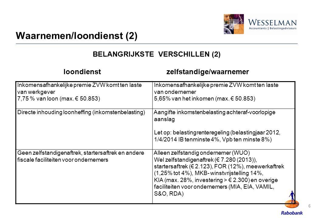 6 Waarnemen/loondienst (2) Inkomensafhankelijke premie ZVW komt ten laste van werkgever 7,75 % van loon (max. € 50.853) Inkomensafhankelijke premie ZV