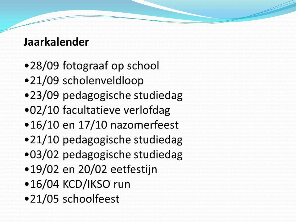 Jaarkalender 28/09 fotograaf op school 21/09 scholenveldloop 23/09 pedagogische studiedag 02/10 facultatieve verlofdag 16/10 en 17/10 nazomerfeest 21/