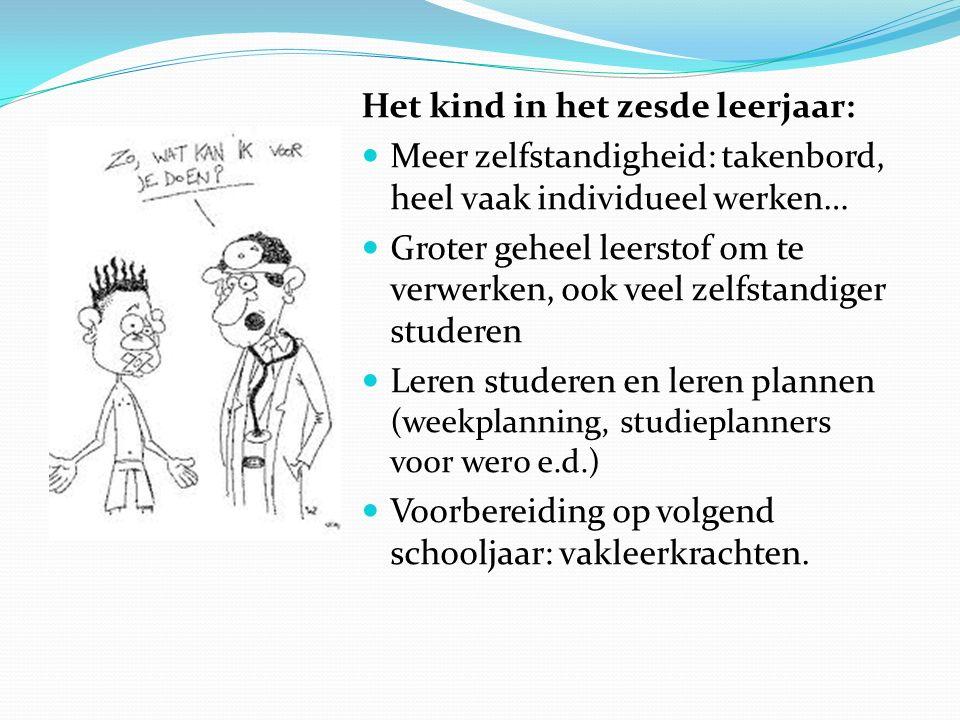 Het kind in het zesde leerjaar: Meer zelfstandigheid: takenbord, heel vaak individueel werken… Groter geheel leerstof om te verwerken, ook veel zelfst