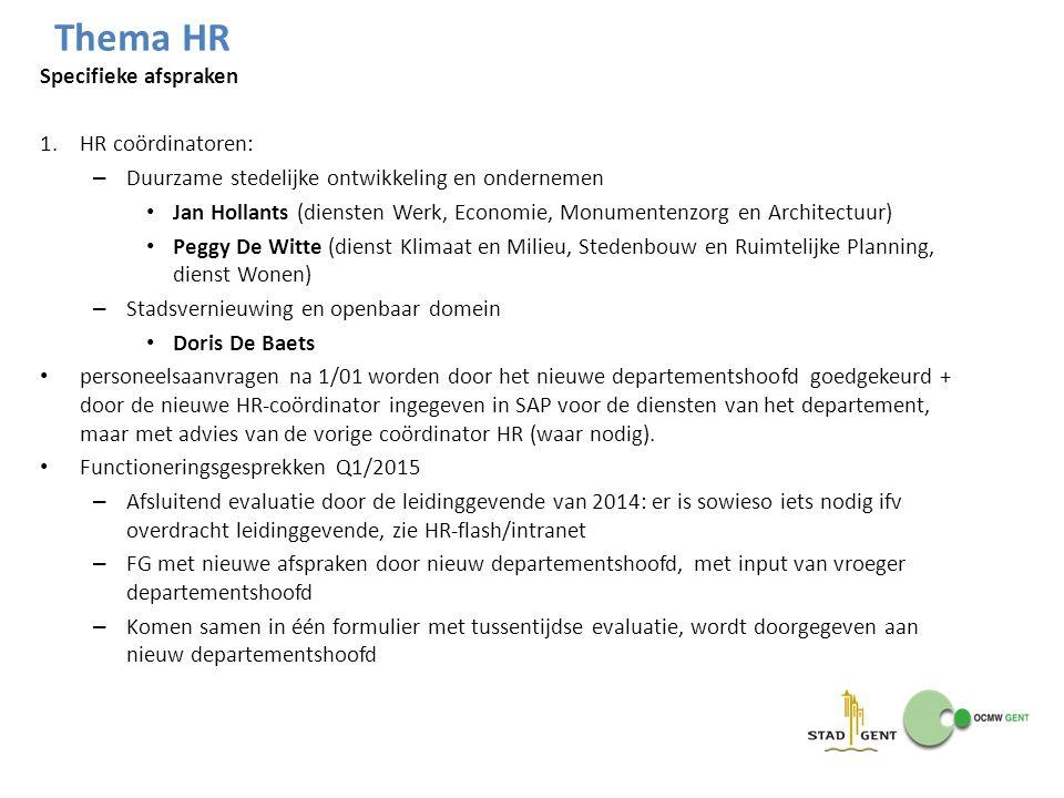 Specifieke afspraken 1.HR coördinatoren: – Duurzame stedelijke ontwikkeling en ondernemen Jan Hollants (diensten Werk, Economie, Monumentenzorg en Arc
