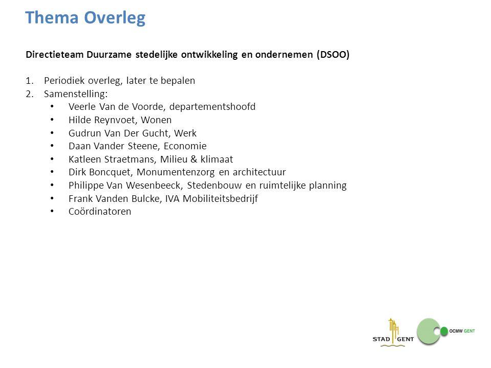 Directieteam Duurzame stedelijke ontwikkeling en ondernemen (DSOO) 1.Periodiek overleg, later te bepalen 2.Samenstelling: Veerle Van de Voorde, depart