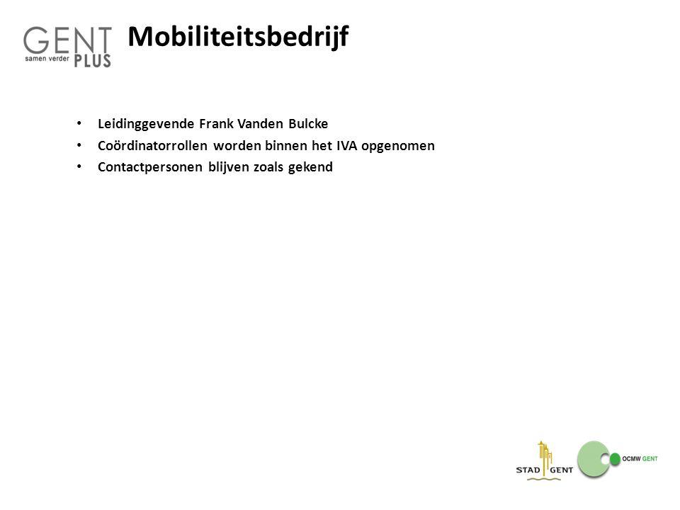 Mobiliteitsbedrijf Leidinggevende Frank Vanden Bulcke Coördinatorrollen worden binnen het IVA opgenomen Contactpersonen blijven zoals gekend