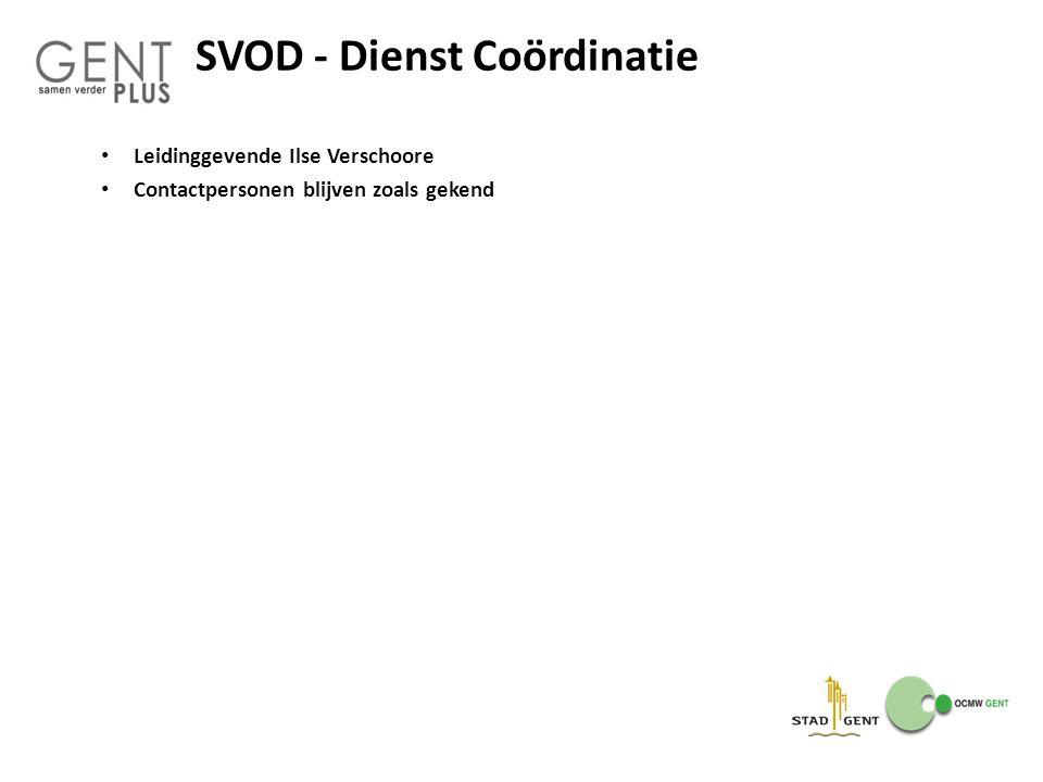SVOD - Dienst Coördinatie Leidinggevende Ilse Verschoore Contactpersonen blijven zoals gekend