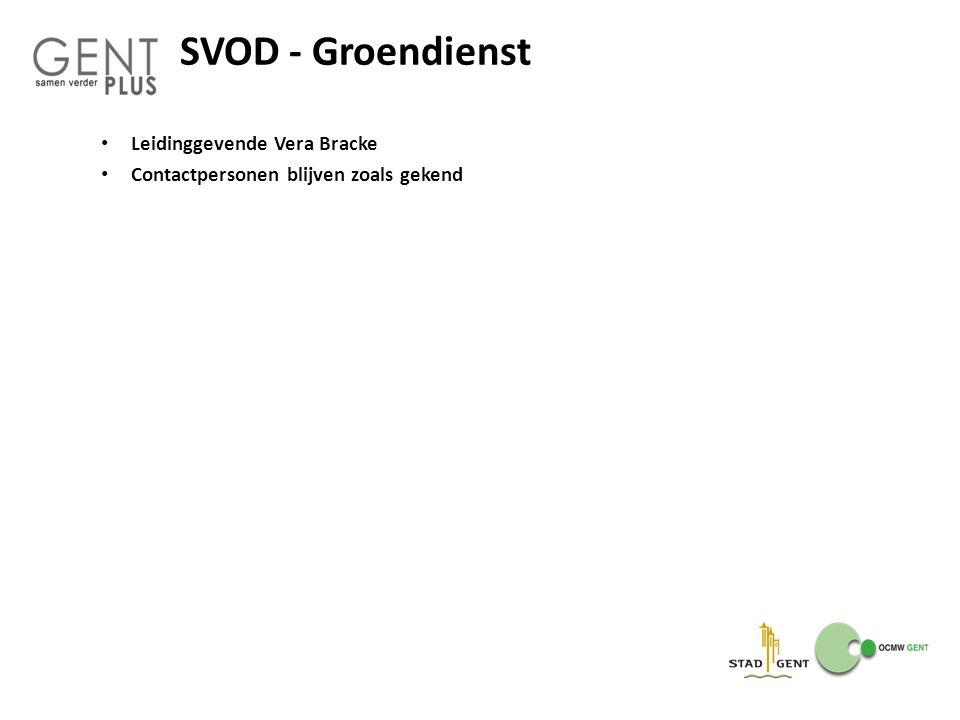 SVOD - Groendienst Leidinggevende Vera Bracke Contactpersonen blijven zoals gekend