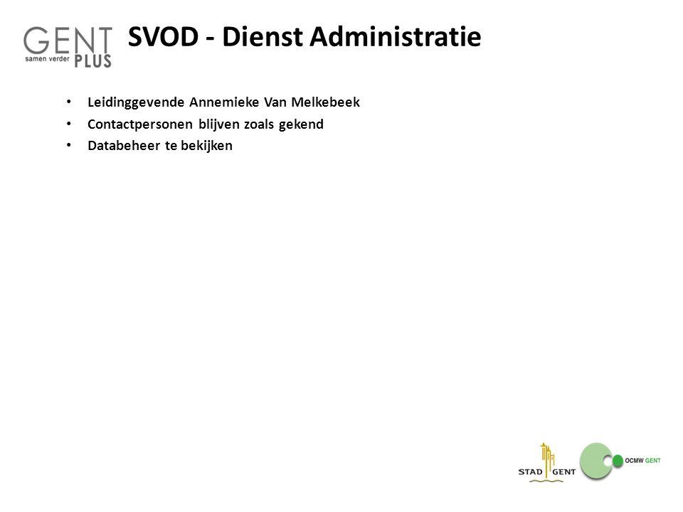 SVOD - Dienst Administratie Leidinggevende Annemieke Van Melkebeek Contactpersonen blijven zoals gekend Databeheer te bekijken