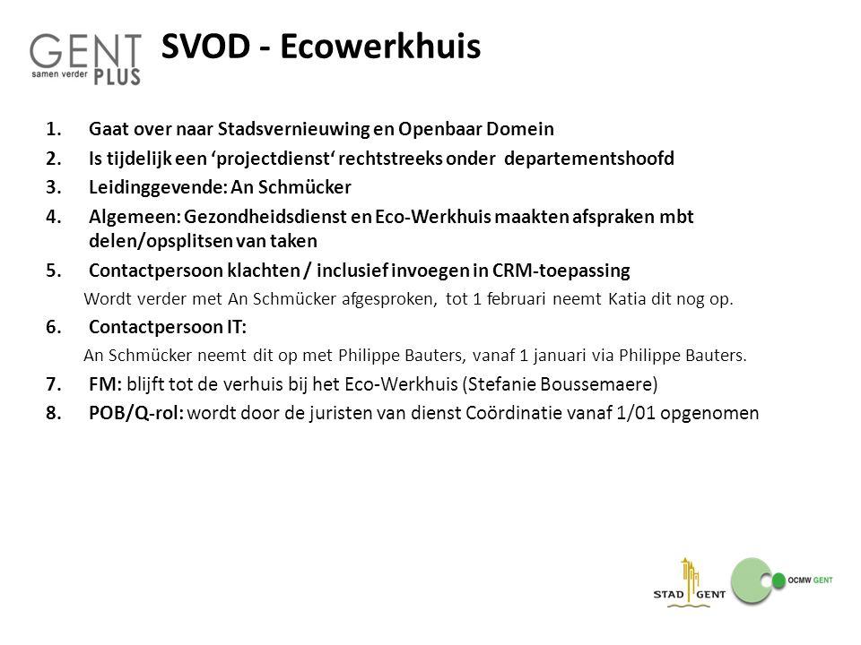 SVOD - Ecowerkhuis 1.Gaat over naar Stadsvernieuwing en Openbaar Domein 2.Is tijdelijk een 'projectdienst' rechtstreeks onder departementshoofd 3.Leid