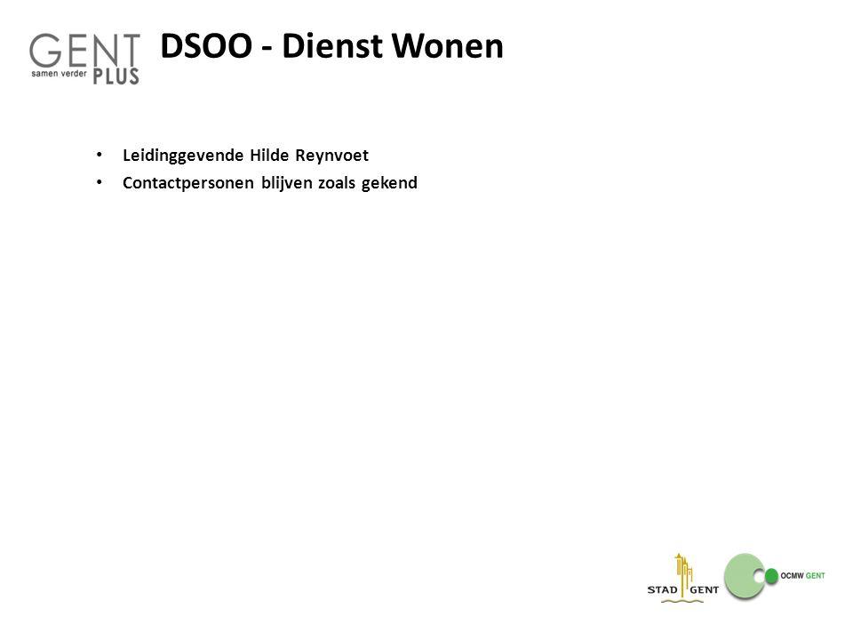 DSOO - Dienst Wonen Leidinggevende Hilde Reynvoet Contactpersonen blijven zoals gekend