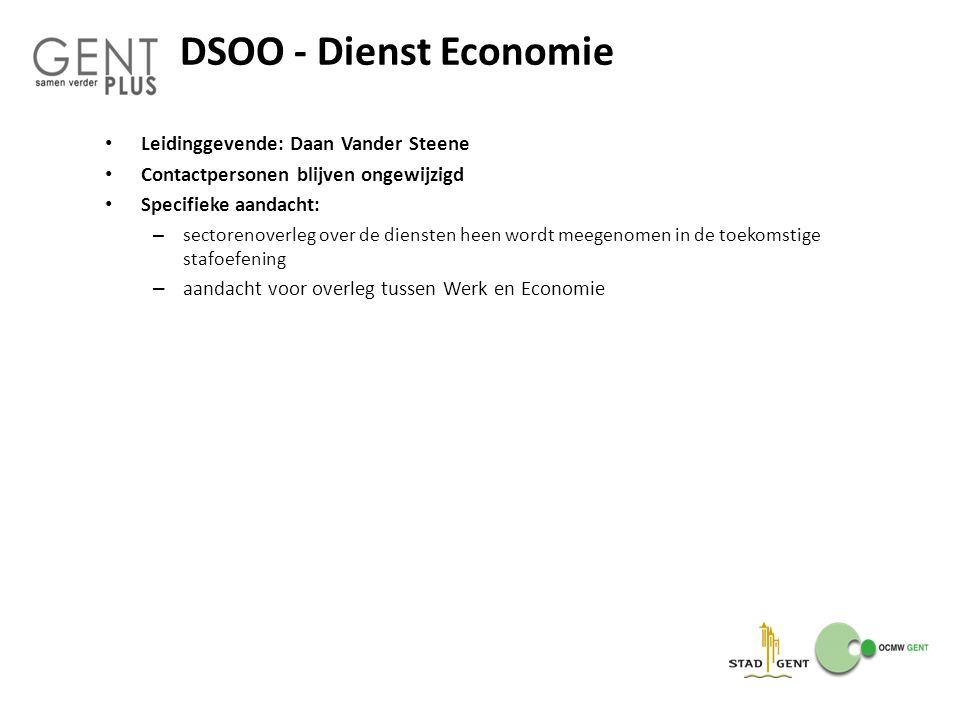 DSOO - Dienst Economie Leidinggevende: Daan Vander Steene Contactpersonen blijven ongewijzigd Specifieke aandacht: – sectorenoverleg over de diensten