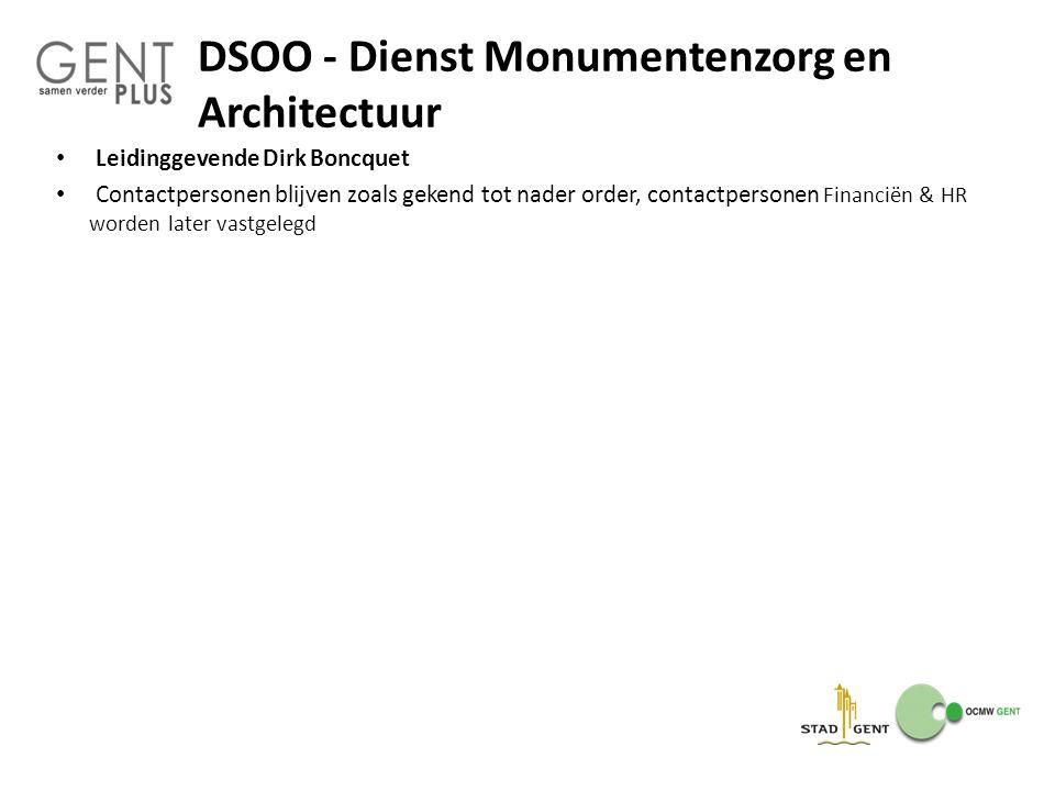 DSOO - Dienst Monumentenzorg en Architectuur Leidinggevende Dirk Boncquet Contactpersonen blijven zoals gekend tot nader order, contactpersonen Financ