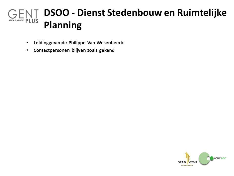 DSOO - Dienst Stedenbouw en Ruimtelijke Planning Leidinggevende Philippe Van Wesenbeeck Contactpersonen blijven zoals gekend