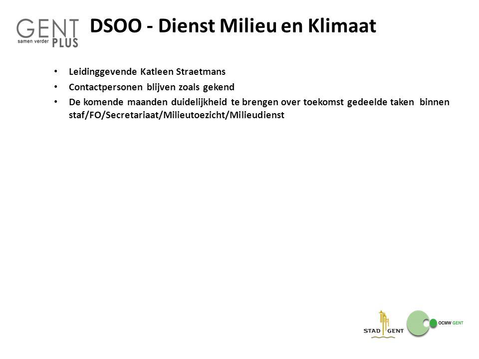 DSOO - Dienst Milieu en Klimaat Leidinggevende Katleen Straetmans Contactpersonen blijven zoals gekend De komende maanden duidelijkheid te brengen ove