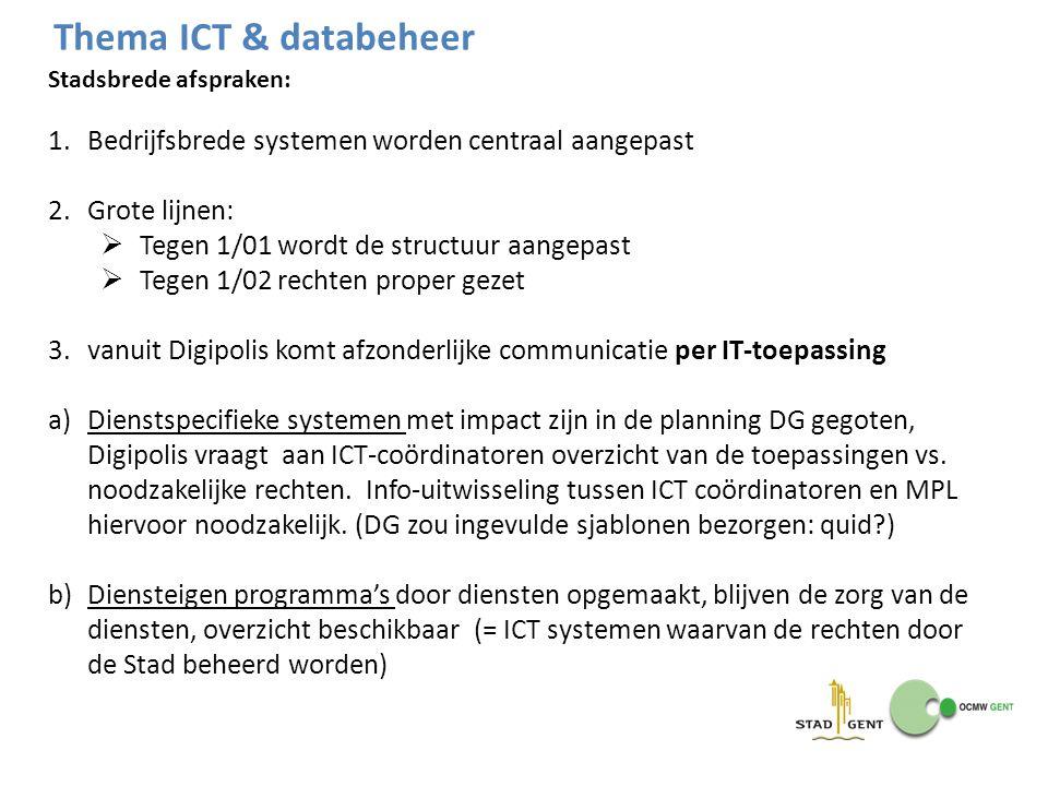 Stadsbrede afspraken: 1.Bedrijfsbrede systemen worden centraal aangepast 2.Grote lijnen:  Tegen 1/01 wordt de structuur aangepast  Tegen 1/02 rechte