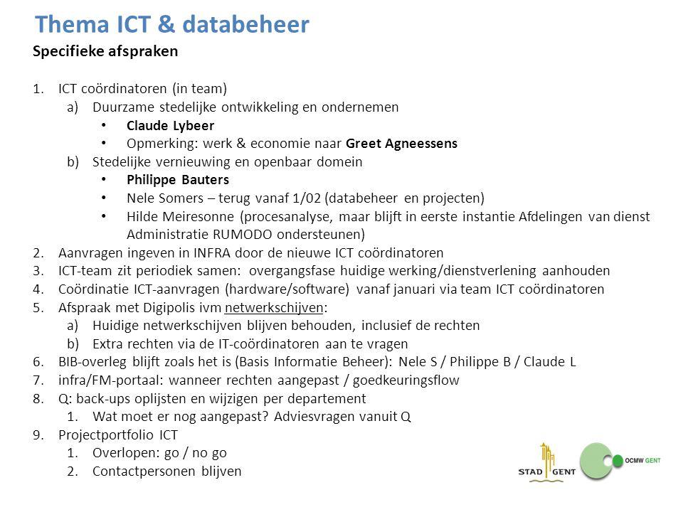 Specifieke afspraken 1.ICT coördinatoren (in team) a)Duurzame stedelijke ontwikkeling en ondernemen Claude Lybeer Opmerking: werk & economie naar Gree