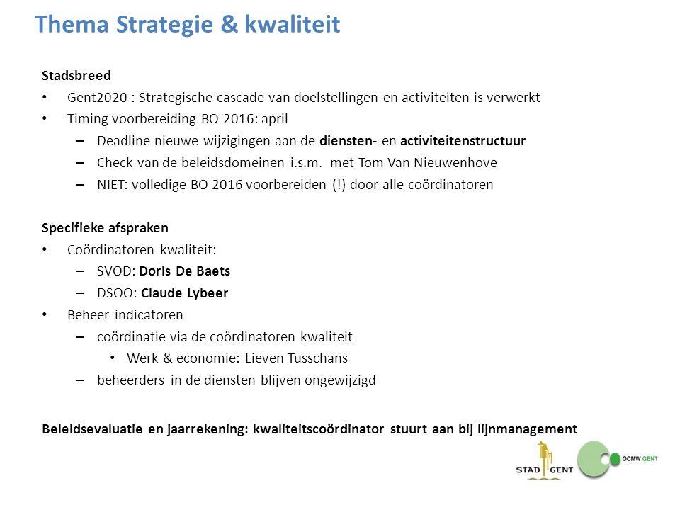 Stadsbreed Gent2020 : Strategische cascade van doelstellingen en activiteiten is verwerkt Timing voorbereiding BO 2016: april – Deadline nieuwe wijzig