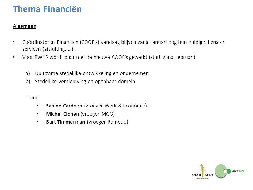 Thema Financiën Algemeen Coördinatoren Financiën (COOF's) vandaag blijven vanaf januari nog hun huidige diensten servicen (afsluiting, …) Voor BW15 wo