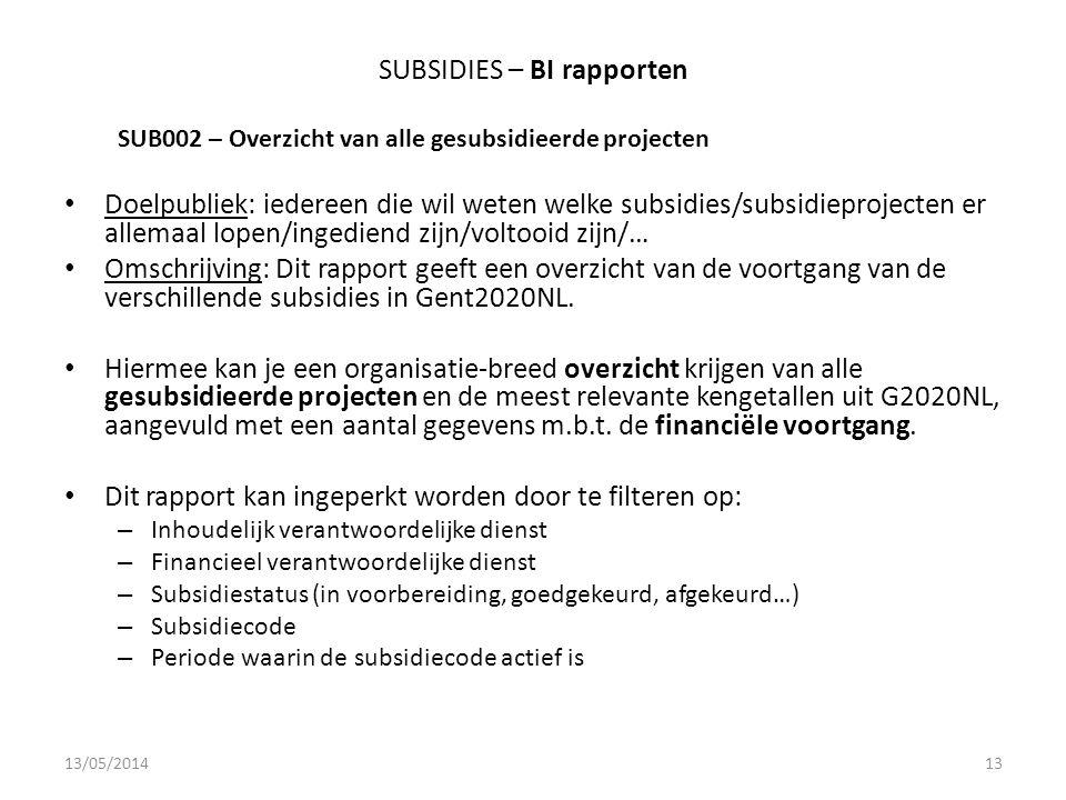 SUBSIDIES – BI rapporten SUB002 – Overzicht van alle gesubsidieerde projecten Doelpubliek: iedereen die wil weten welke subsidies/subsidieprojecten er allemaal lopen/ingediend zijn/voltooid zijn/… Omschrijving: Dit rapport geeft een overzicht van de voortgang van de verschillende subsidies in Gent2020NL.