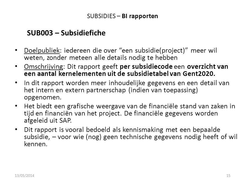 SUBSIDIES – BI rapporten SUB003 – Subsidiefiche Doelpubliek: iedereen die over een subsidie(project) meer wil weten, zonder meteen alle details nodig te hebben Omschrijving: Dit rapport geeft per subsidiecode een overzicht van een aantal kernelementen uit de subsidietabel van Gent2020.