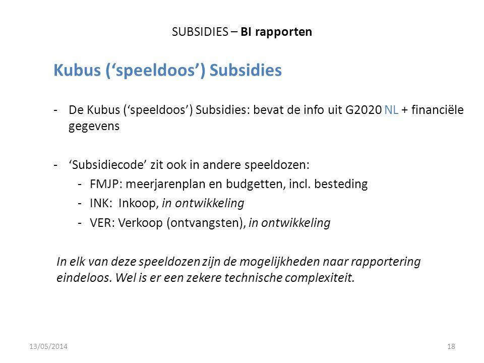 SUBSIDIES – BI rapporten Kubus ('speeldoos') Subsidies -De Kubus ('speeldoos') Subsidies: bevat de info uit G2020 NL + financiële gegevens -'Subsidiecode' zit ook in andere speeldozen: -FMJP: meerjarenplan en budgetten, incl.