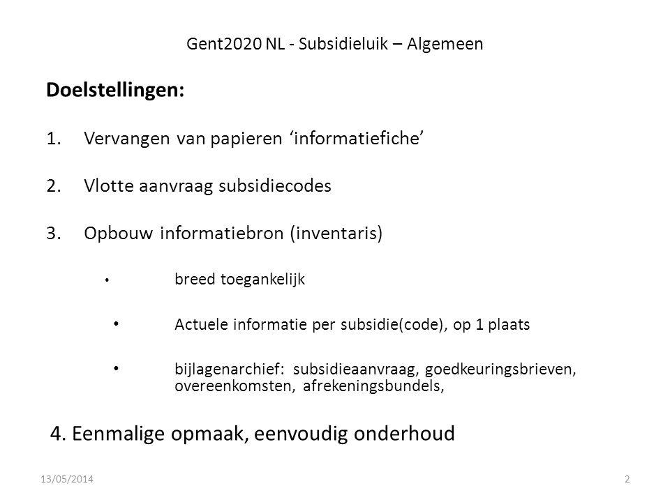 Gent2020 NL - Subsidieluik – Algemeen Doelstellingen: 1.Vervangen van papieren 'informatiefiche' 2.Vlotte aanvraag subsidiecodes 3.Opbouw informatiebron (inventaris) breed toegankelijk Actuele informatie per subsidie(code), op 1 plaats bijlagenarchief: subsidieaanvraag, goedkeuringsbrieven, overeenkomsten, afrekeningsbundels, 4.