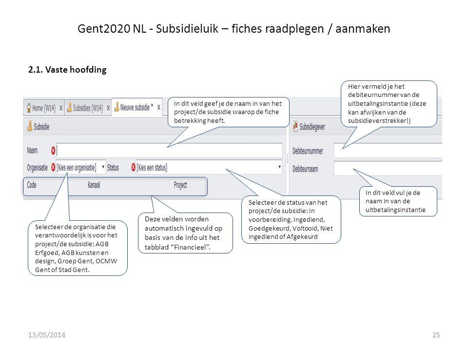 Gent2020 NL - Subsidieluik – fiches raadplegen / aanmaken 2.1.