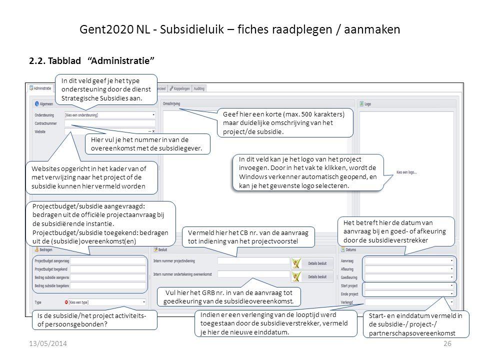 Gent2020 NL - Subsidieluik – fiches raadplegen / aanmaken 2.2.