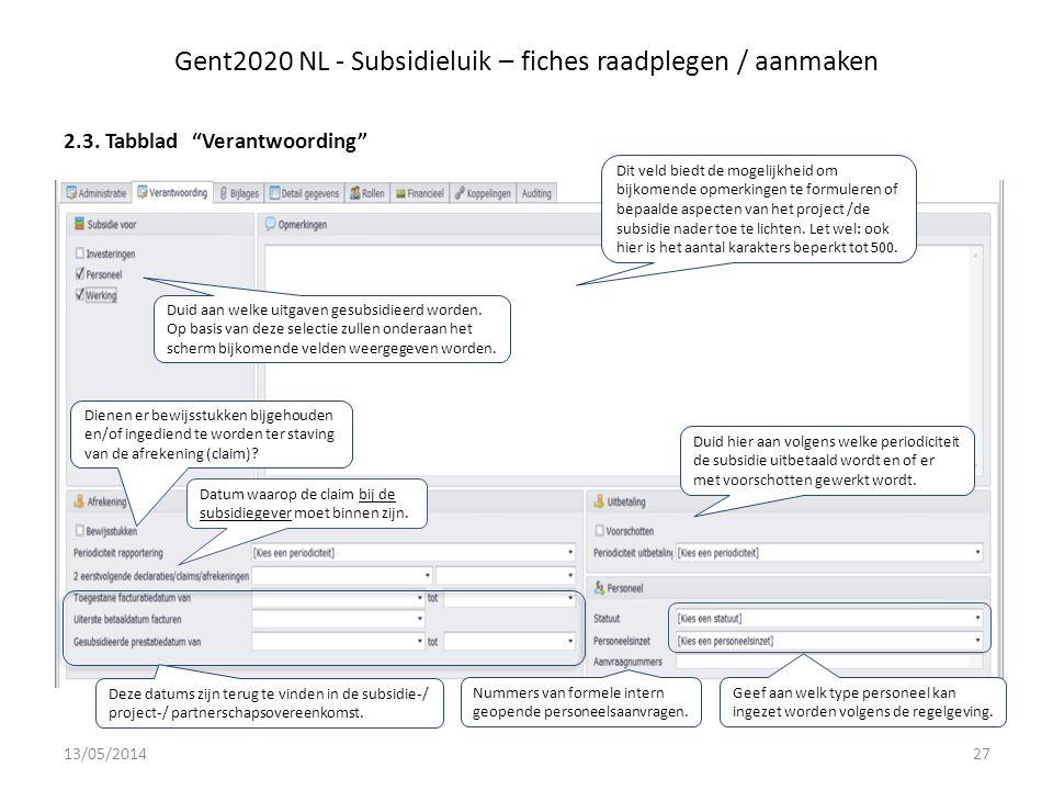 Gent2020 NL - Subsidieluik – fiches raadplegen / aanmaken 2.3.
