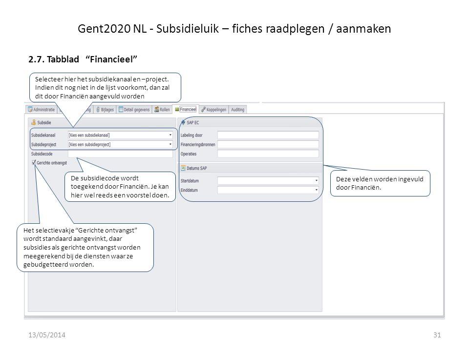 Gent2020 NL - Subsidieluik – fiches raadplegen / aanmaken 2.7.