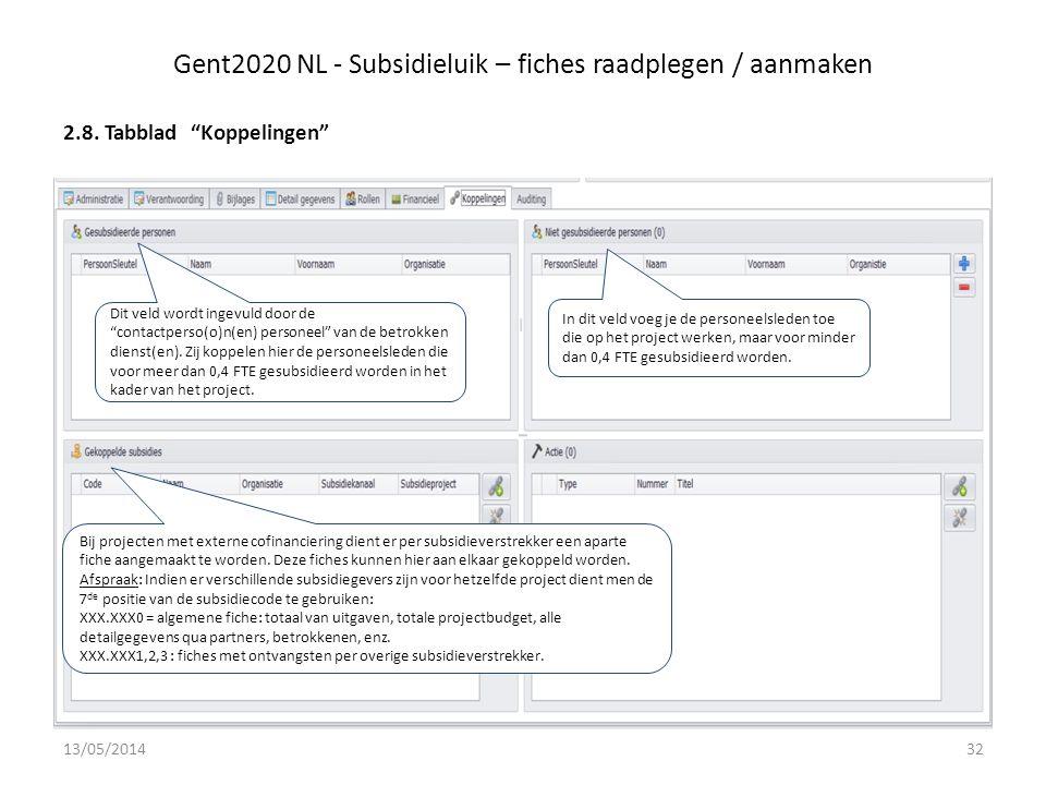 Gent2020 NL - Subsidieluik – fiches raadplegen / aanmaken 2.8.