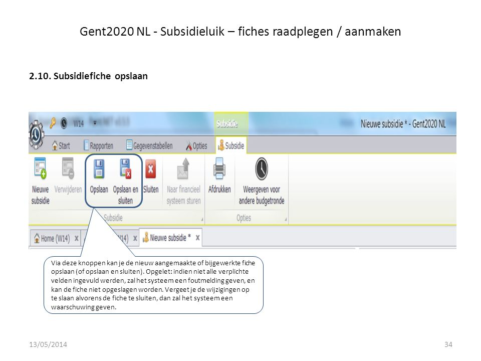 Gent2020 NL - Subsidieluik – fiches raadplegen / aanmaken 2.10.