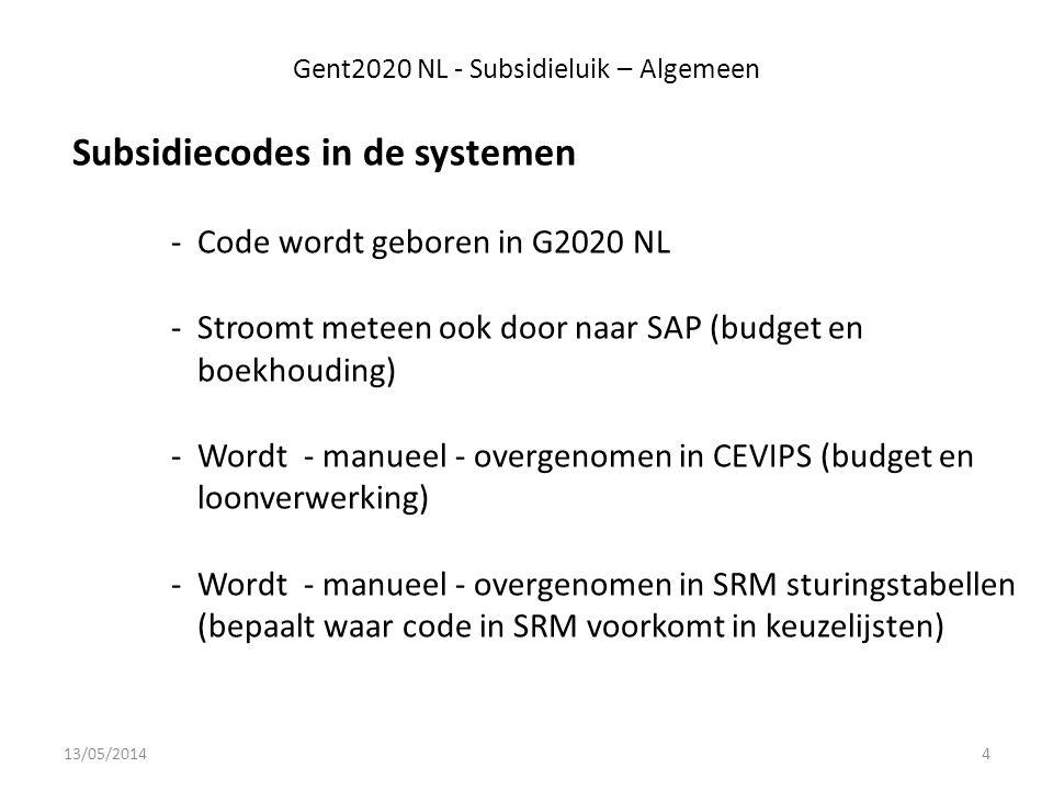 Gent2020 NL - Subsidieluik – Algemeen Subsidiecodes in de systemen -Code wordt geboren in G2020 NL -Stroomt meteen ook door naar SAP (budget en boekhouding) -Wordt - manueel - overgenomen in CEVIPS (budget en loonverwerking) -Wordt - manueel - overgenomen in SRM sturingstabellen (bepaalt waar code in SRM voorkomt in keuzelijsten) 13/05/20144