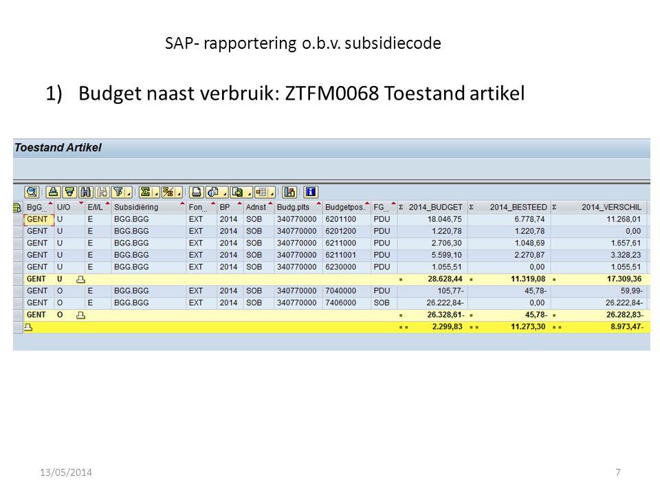 SAP- rapportering o.b.v.