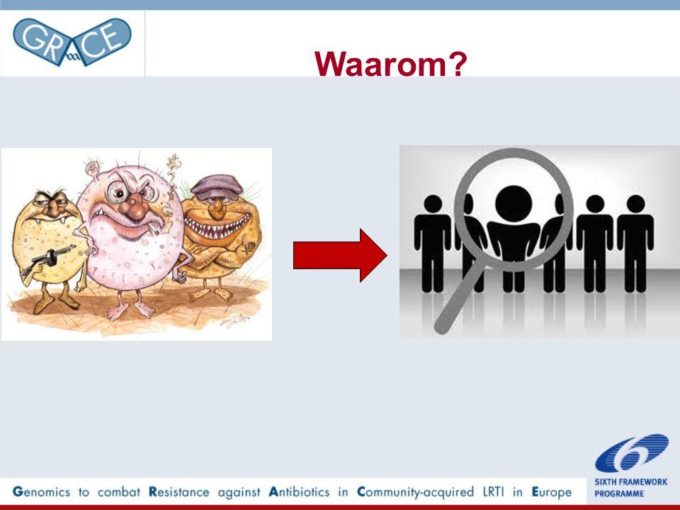 Resultaten: Klinische gegevens Bacteriële LLWI aanwezig N=292 Bacteriële LLWI afwezig N=2795 OR univariabel (95%CI) Symptomen Verkleurd sputum63%49%1.77 (1.37-2.28) Kortademigheid62%56%1.29 (1.01-1.65) Loopneus75%71%1.22 (0.93-1.61) Koorts45%34%1.59 (1.25-2.03) Pijn op de borst51%46%1.20 (0.95-1.53) Spierpijn56%50%1.24 (0.98-1.59) Hoofdpijn61%56%1.24 (0.97-1.59) Diarree7% 1.00 (0.63-1.60) Lichamelijk onderzoek Crepiteren bij auscultatie11%9%1.23 (0.83-1.81) Hartslag ≥ 100/min4% 0.89 (0.46-1.72) Ademfrequentie ≥ 20/min24%22%1.14 (0.86-1.52) Bloeddruk < 90/60 mmHg5%2%1.98 (1.08-3.64) Lichaamstemperatuur ≥ 38ºC4% 0.97 (0.52-1.83)