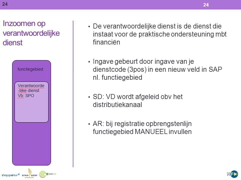 24 Inzoomen op verantwoordelijke dienst De verantwoordelijke dienst is de dienst die instaat voor de praktische ondersteuning mbt financiën Ingave gebeurt door ingave van je dienstcode (3pos) in een nieuw veld in SAP nl.