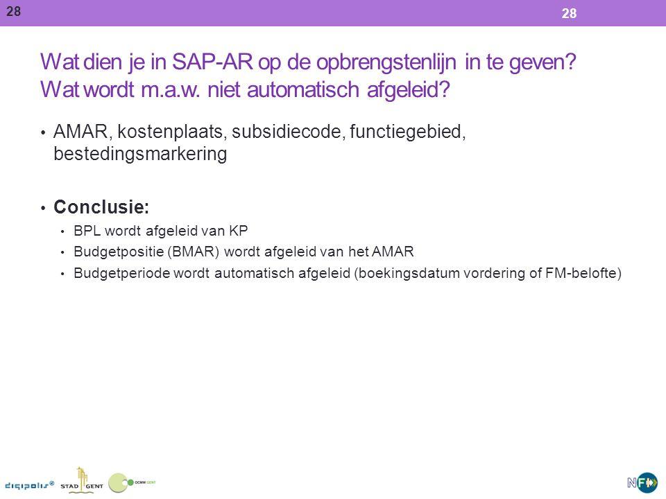 28 Wat dien je in SAP-AR op de opbrengstenlijn in te geven.