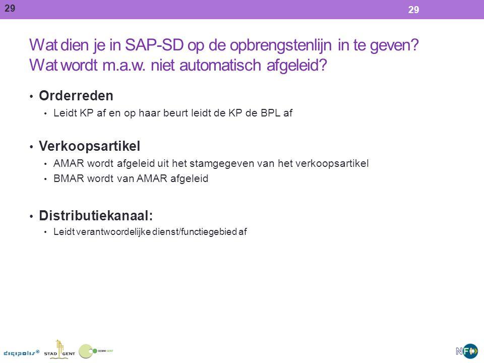 29 Wat dien je in SAP-SD op de opbrengstenlijn in te geven.