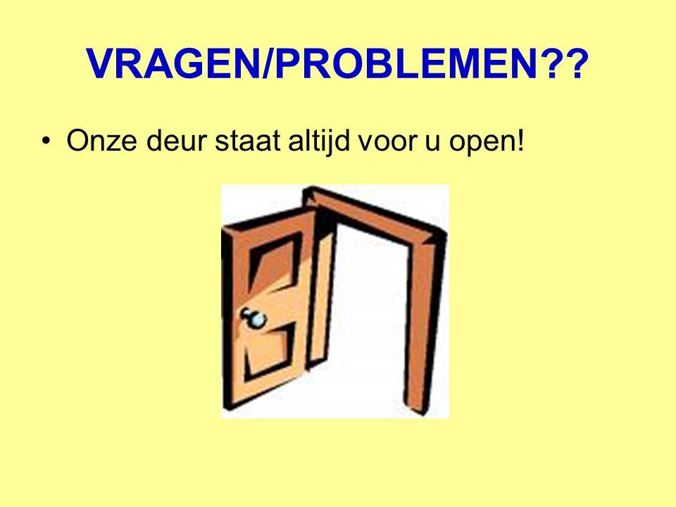 VRAGEN/PROBLEMEN?? Onze deur staat altijd voor u open!
