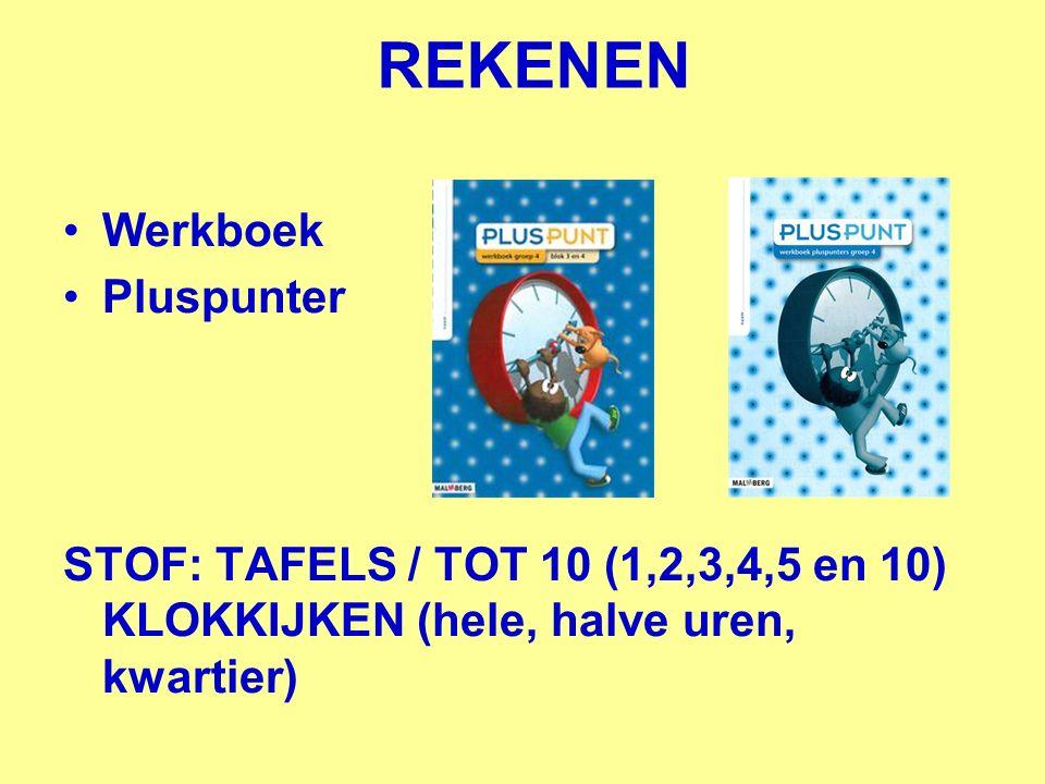 REKENEN Werkboek Pluspunter STOF: TAFELS / TOT 10 (1,2,3,4,5 en 10) KLOKKIJKEN (hele, halve uren, kwartier)