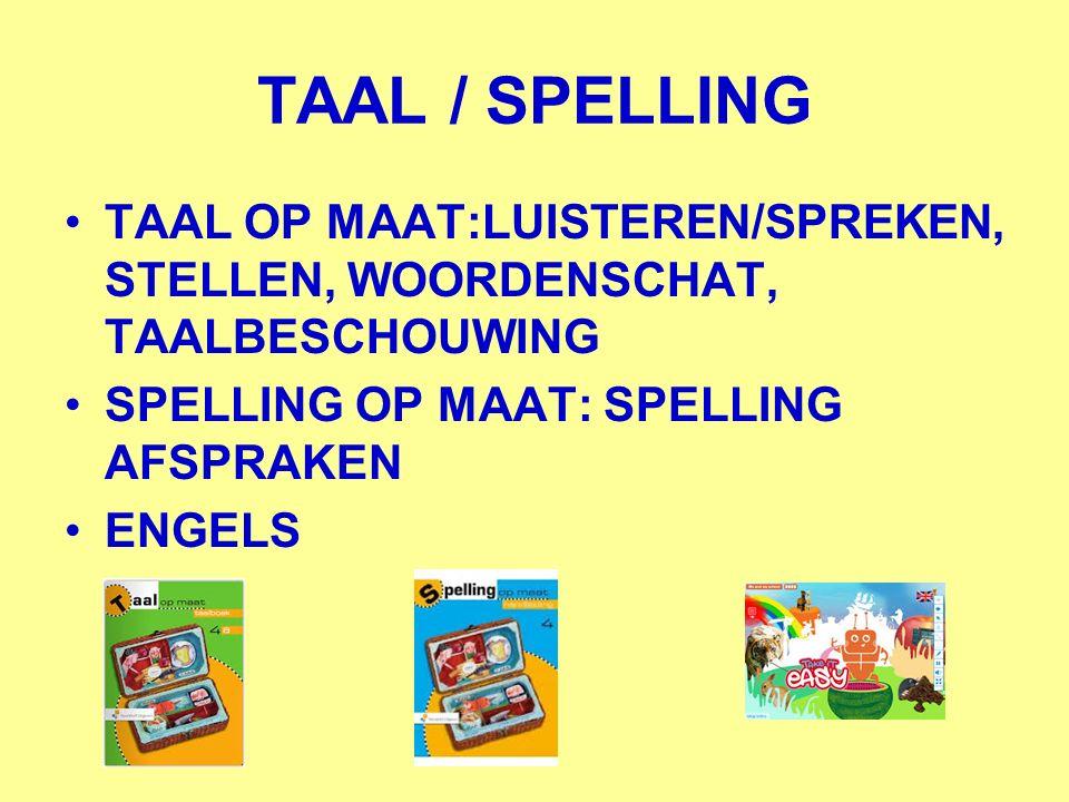 TAAL / SPELLING TAAL OP MAAT:LUISTEREN/SPREKEN, STELLEN, WOORDENSCHAT, TAALBESCHOUWING SPELLING OP MAAT: SPELLING AFSPRAKEN ENGELS