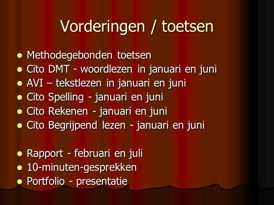 Vorderingen / toetsen Methodegebonden toetsen Methodegebonden toetsen Cito DMT - woordlezen in januari en juni Cito DMT - woordlezen in januari en juni AVI – tekstlezen in januari en juni AVI – tekstlezen in januari en juni Cito Spelling - januari en juni Cito Spelling - januari en juni Cito Rekenen - januari en juni Cito Rekenen - januari en juni Cito Begrijpend lezen - januari en juni Cito Begrijpend lezen - januari en juni Rapport - februari en juli Rapport - februari en juli 10-minuten-gesprekken 10-minuten-gesprekken Portfolio - presentatie Portfolio - presentatie