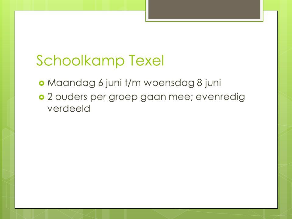 Schoolkamp Texel  Maandag 6 juni t/m woensdag 8 juni  2 ouders per groep gaan mee; evenredig verdeeld