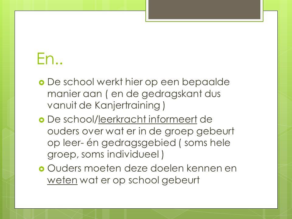 En..  De school werkt hier op een bepaalde manier aan ( en de gedragskant dus vanuit de Kanjertraining )  De school/leerkracht informeert de ouders