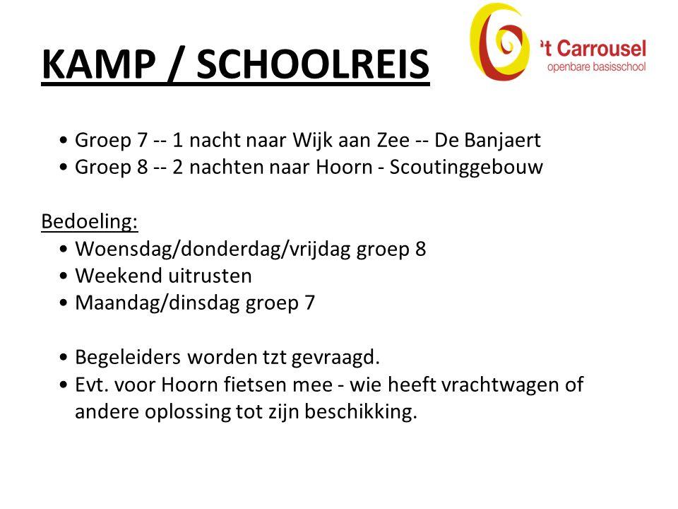 KAMP / SCHOOLREIS Groep 7 -- 1 nacht naar Wijk aan Zee -- De Banjaert Groep 8 -- 2 nachten naar Hoorn - Scoutinggebouw Bedoeling: Woensdag/donderdag/vrijdag groep 8 Weekend uitrusten Maandag/dinsdag groep 7 Begeleiders worden tzt gevraagd.