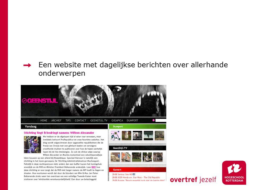 Een website met dagelijkse berichten over allerhande onderwerpen