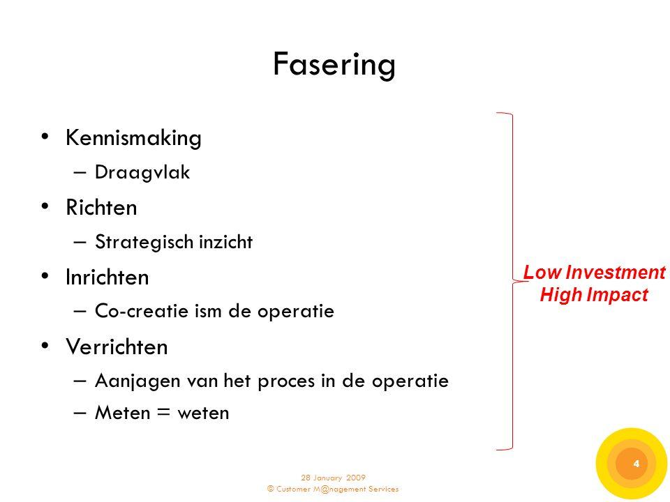 28 January 2009 © Customer M@nagement Services 4 4 Fasering Kennismaking – Draagvlak Richten – Strategisch inzicht Inrichten – Co-creatie ism de opera