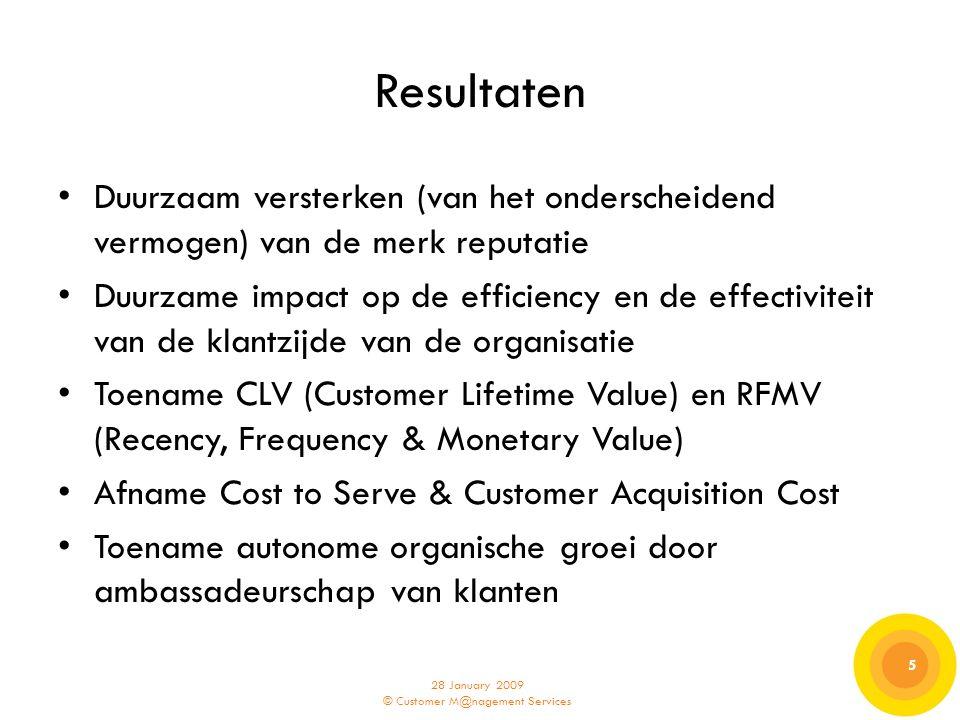 28 January 2009 © Customer M@nagement Services 5 5 Resultaten Duurzaam versterken (van het onderscheidend vermogen) van de merk reputatie Duurzame imp
