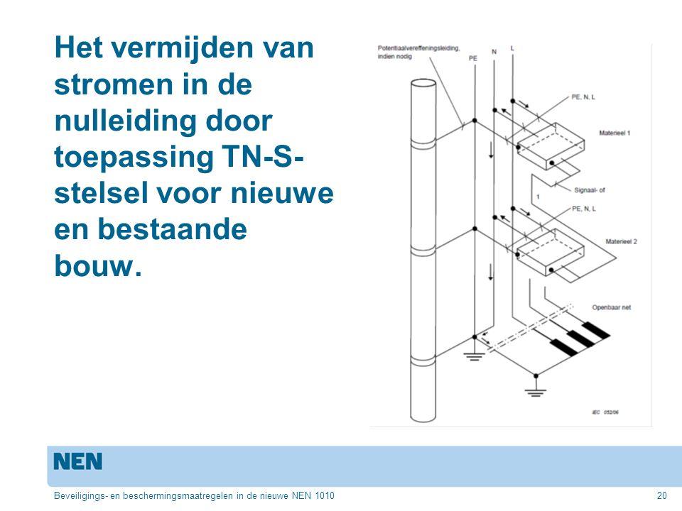 Het vermijden van stromen in de nulleiding door toepassing TN-S- stelsel voor nieuwe en bestaande bouw. Beveiligings- en beschermingsmaatregelen in de