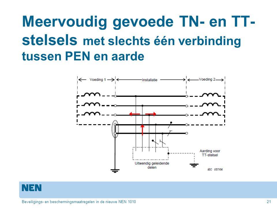 Meervoudig gevoede TN- en TT- stelsels met slechts één verbinding tussen PEN en aarde Beveiligings- en beschermingsmaatregelen in de nieuwe NEN 101021